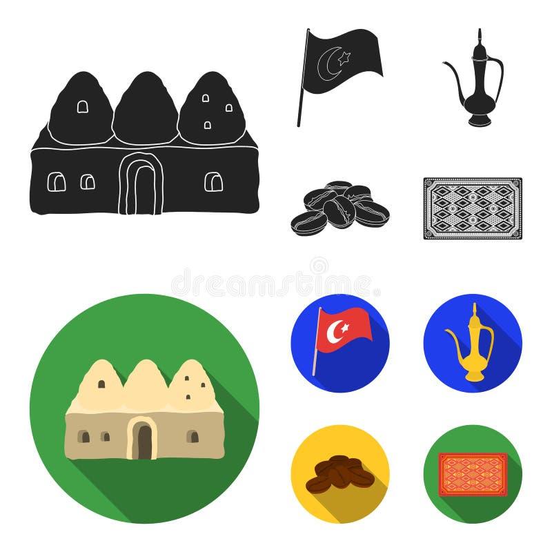 Logez la ruche, drapeau national, cuivre de pot de café, café de grains Icônes réglées de collection de la Turquie dans le vecteu illustration de vecteur