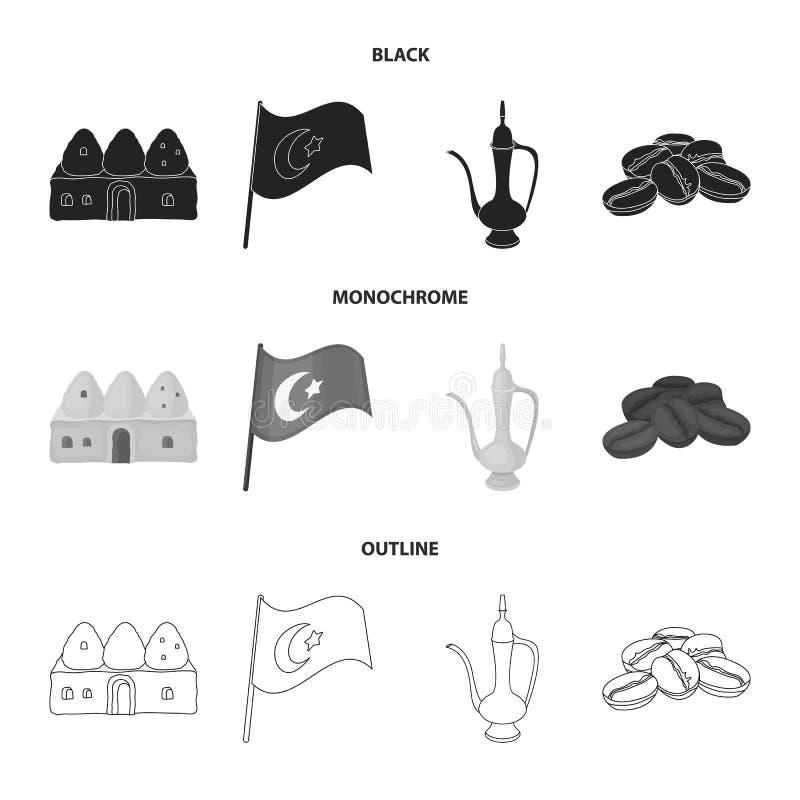 Logez la ruche, drapeau national, cuivre de pot de café, café de grains Icônes réglées de collection de la Turquie dans noir, mon illustration de vecteur