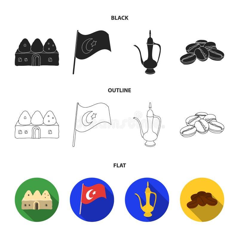 Logez la ruche, drapeau national, cuivre de pot de café, café de grains Icônes réglées de collection de la Turquie dans noir, pla illustration de vecteur