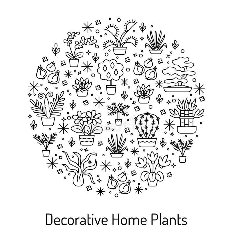 Logez le concept d'usines pour la jardinerie, la fleur et le fleuriste V illustration libre de droits