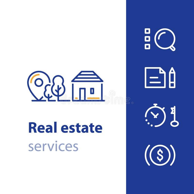 Logez le sort, propriété d'immobiliers, icône à la maison résidentielle illustration de vecteur