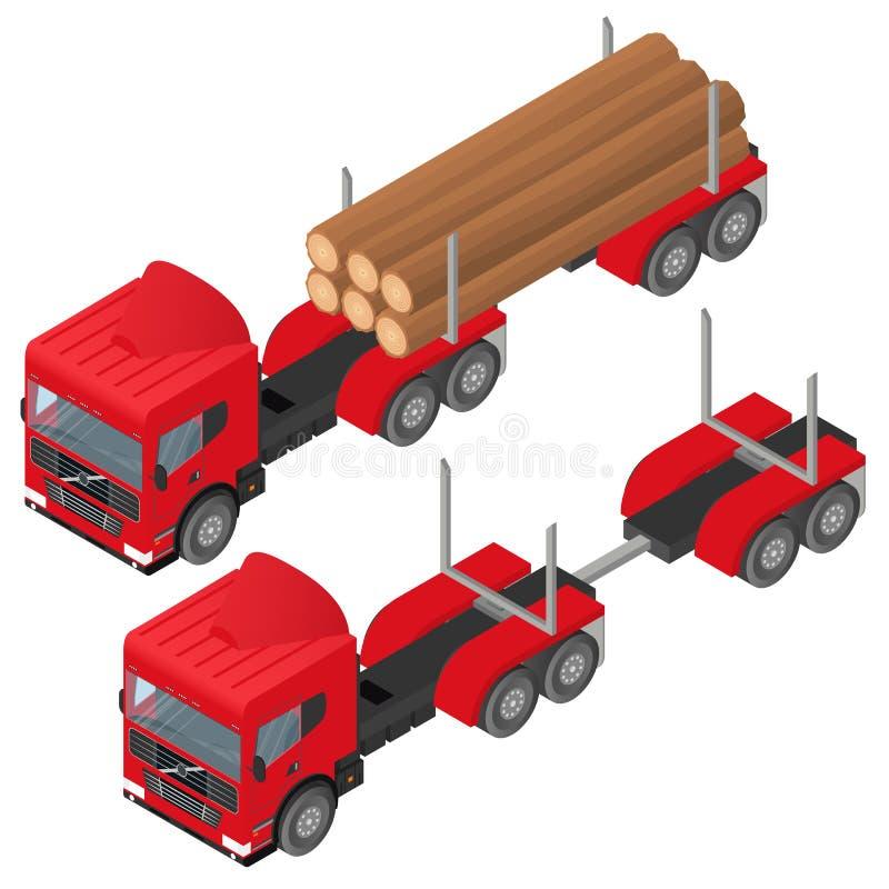 Logga lastbilen i isometriskt En grupp av journaler royaltyfri illustrationer