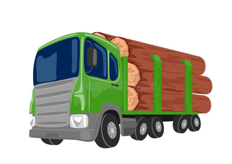Logga lastbilen som transporterar stora journaler som isoleras på vit bakgrund royaltyfri illustrationer