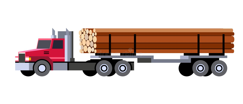 Logga lastbilen som transporterar träjournaler stock illustrationer
