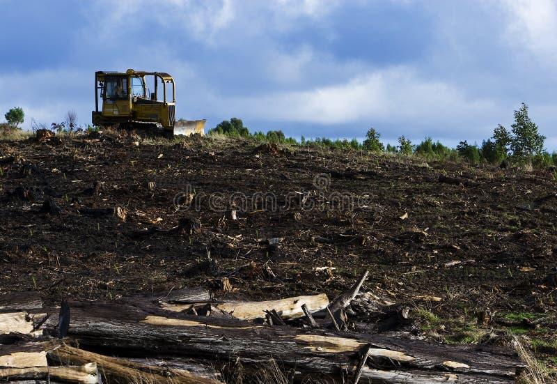 loggad för bulldozerfält fotografering för bildbyråer