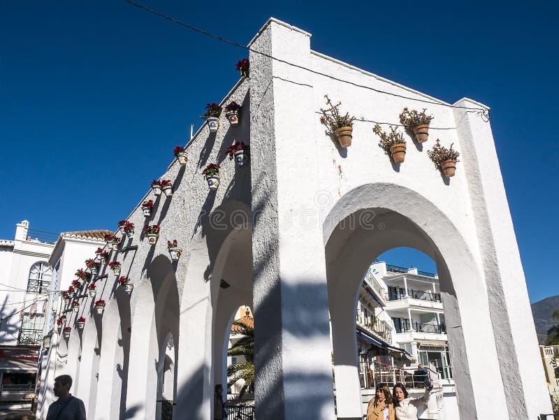 Loggia op Balcon DE Europa in de mooie toevlucht van Nerja in Andalucia stock fotografie