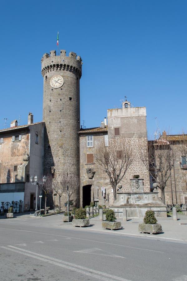 Loggia Palace, Bagnaia, Viterbo, Italy. Loggia Palace, Bagnaia with the clock tower. Viterbo, Italy royalty free stock photography