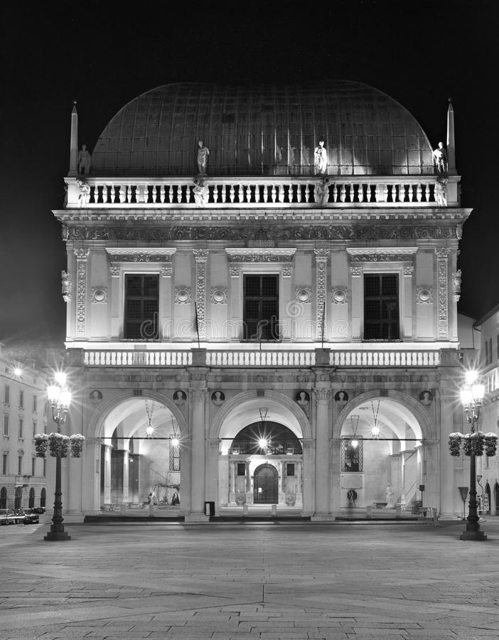 Loggia Palace in Brescia at night, black and white royalty free stock photos