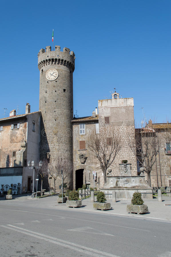 Loggiaslott, Bagnaia, Viterbo, Italien royaltyfri fotografi