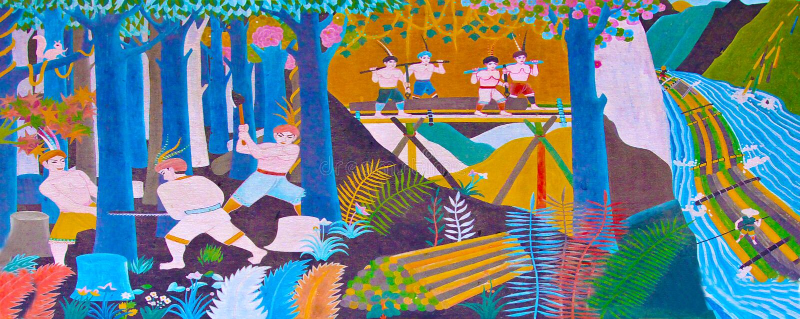 Logging. Illustration of ancient logging scenarios royalty free illustration
