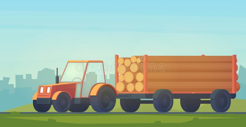 Logging tractor on road. Tractor with trailer for transportation of raw wood and timber products. Foresty industry. Vector flat illustration vector illustration