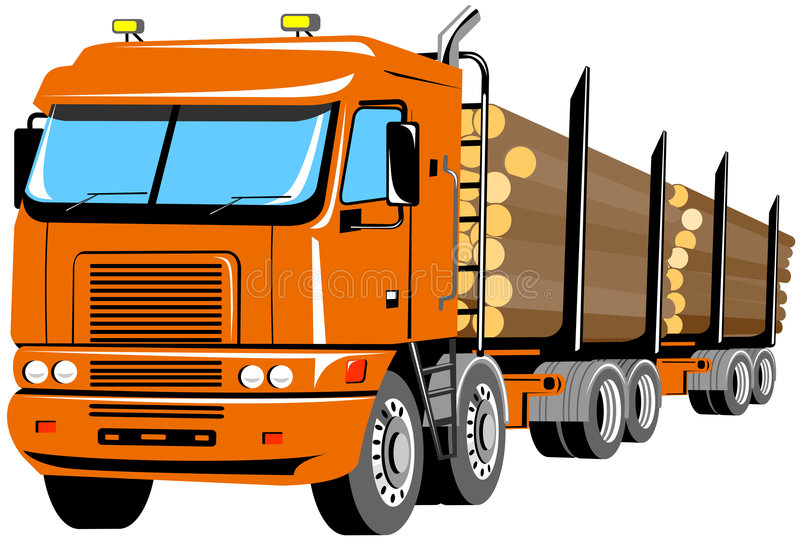 Download Logging Truck Isolated On Whit Stock Vector - Image: 4273810