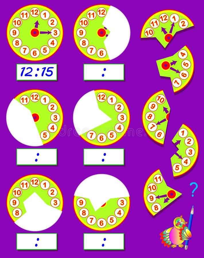 Logic exercise for children. Need to find the second parts of clocks, draw them in relevant places and write correct time. Vector cartoon image. Scale to any stock illustration