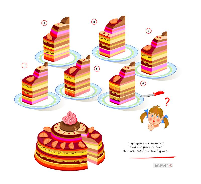 Free Logic Game For Smartest. Find The Piece Of Cake That Was Cut From The Big One. Printable Page For Brain Teaser Book. 3D Puzzle. Stock Photo - 219792520