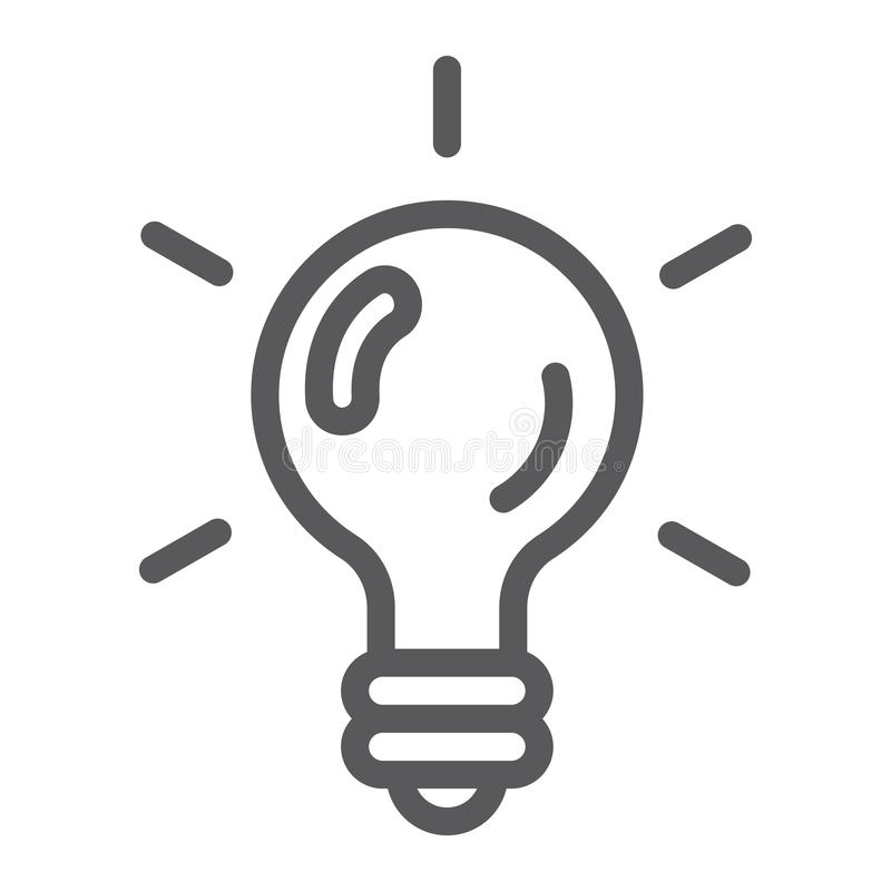 Logic game line icon, game and play, light bulb sign, vector graphics, a linear pattern on a white background. royalty free illustration