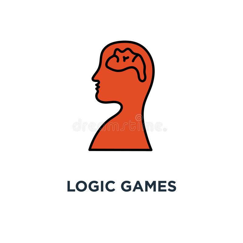 logic games icon. creative thinking, psychology concept symbol design, head maze, mind labyrinth, mental work, strategic thinking royalty free illustration