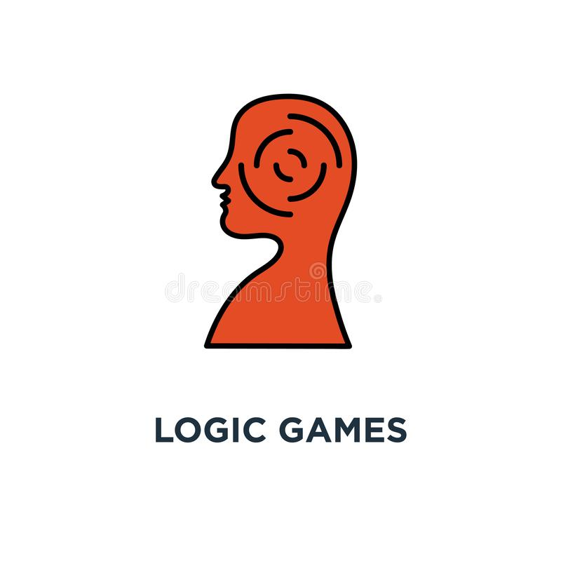 logic games icon. creative thinking, psychology concept symbol design, head maze, mind labyrinth, mental work, strategic thinking vector illustration