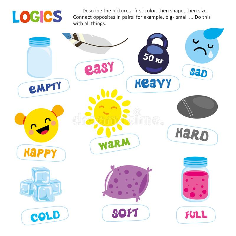 Logic Kid Describe Picture Game Printable Template. Tell about Color, Shape, Size Thing. Learn and Play Preschool Child Education Activity. Children Study stock illustration