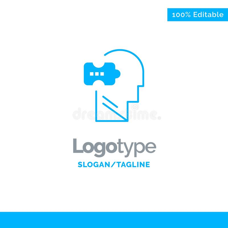 Logic, Mind, Problem, Solving Blue Solid Logo Template. Place for Tagline vector illustration