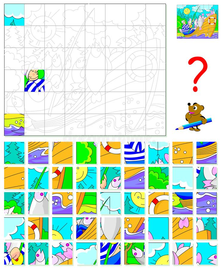 Logic puzzle game for children and adults. Find the correct place for each detail and paint the image in relevant colors. Vector cartoon image. Scale to any royalty free illustration