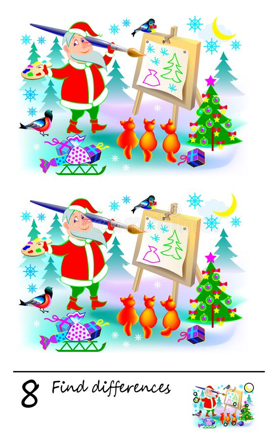 Logic puzzle game for children and adults. Need to find 8 differences. Developing skills for counting. Vector cartoon image. Vector image. Developing children stock illustration