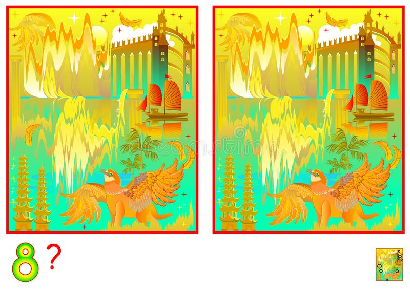 Logic puzzle game for children and adults. Need to find 8 differences. Developing skills for counting. Vector cartoon image. royalty free illustration