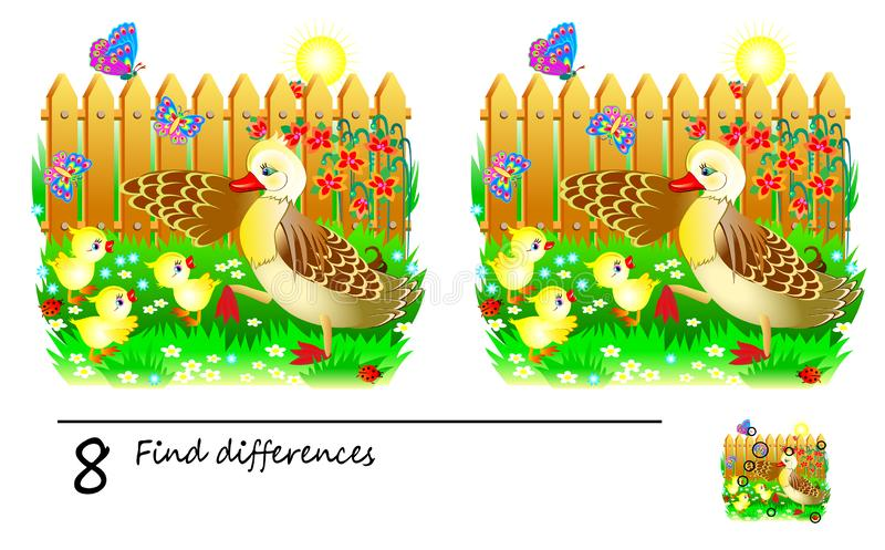 Logic puzzle game for children and adults. Need to find 8 differences. Developing skills for counting. Vector image. Developing children skills for drawing and royalty free illustration