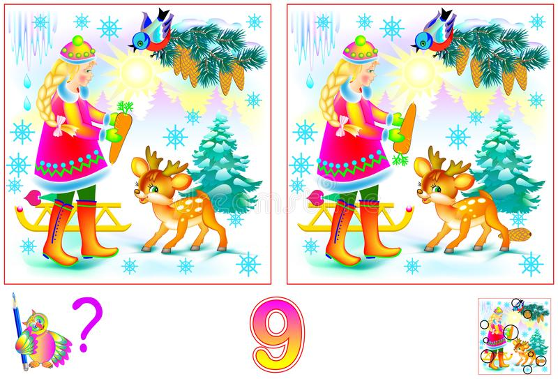 Logic puzzle game for children and adults. Need to find 9 differences. vector illustration