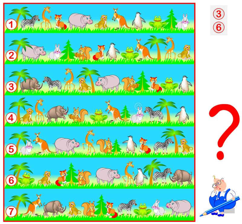 Logic puzzle game for children and adults. Need to find two lines with identical set of animals. stock illustration