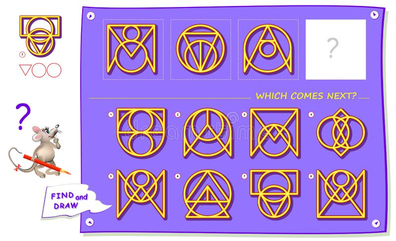 Logic puzzle game for children and adults. What sign should replace question mark? Which one comes next?. Find it and draw in square. Worksheet for school vector illustration