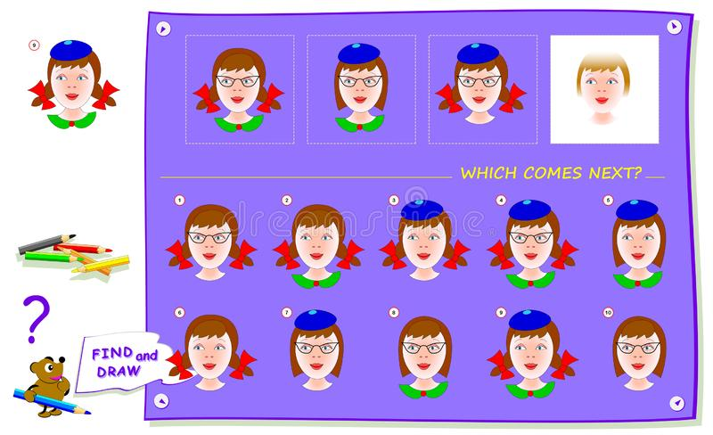 Logic puzzle game for children and adults. Which portrait of girl comes next? Find it and draw in white square. Worksheet for kids school textbook. Print for royalty free illustration