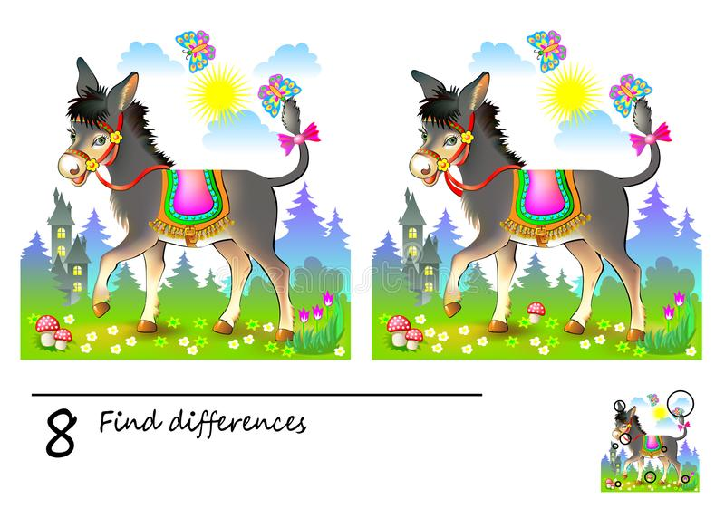 Logic puzzle game for children. Need to find 8 differences. Printable page for kids brainteaser book. Illustration of cute donkey royalty free illustration