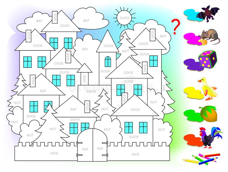 Logic puzzle game for children for study English. Read the words and paint picture in color corresponding to each object. Printable worksheet for kids textbook royalty free illustration