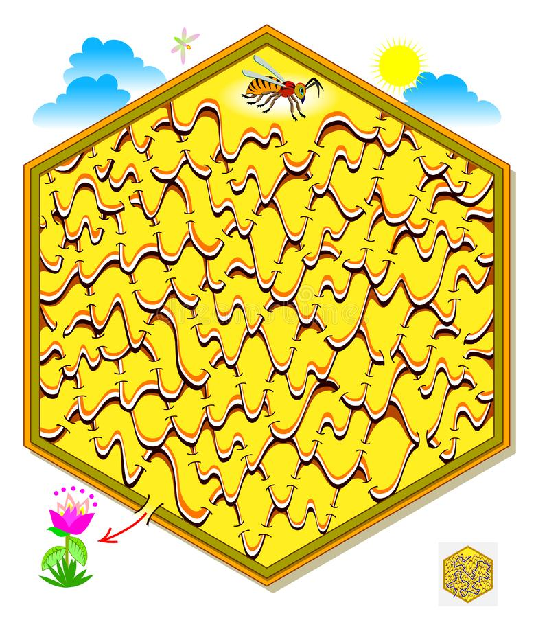Logic puzzle game with labyrinth for children and adults. Help the bee find the way out of the honeycomb till the flower. Printable page for brainteaser book stock illustration