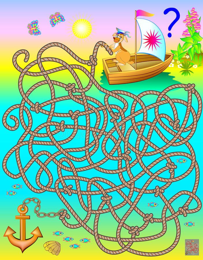 Logic puzzle game with labyrinth. Which rope connects to the anchor? royalty free illustration