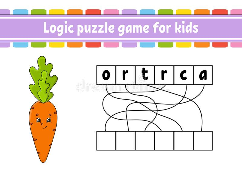 Logic puzzle game. Learning words for kids. Find the hidden name. Education developing worksheet. Activity page for study English. Game for children. Isolated royalty free illustration
