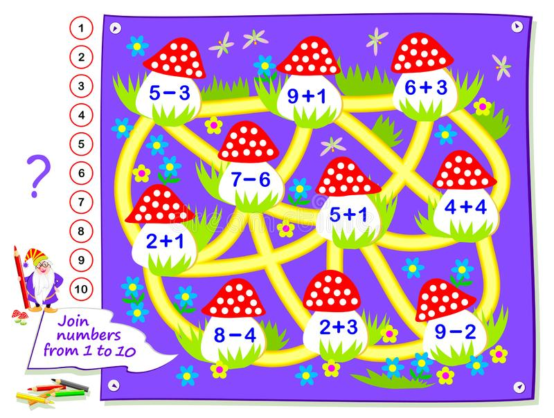 Logic puzzle game for little children. Math labyrinth for kids school textbook. Solved examples, draw path to connect mushrooms. Logic puzzle game for little royalty free illustration