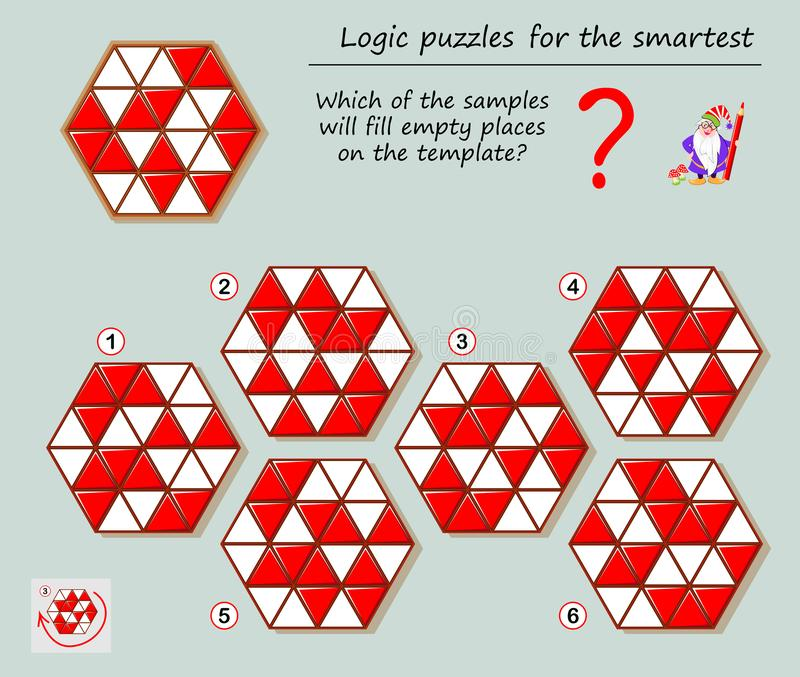 Logic puzzle game for smartest. Which of the samples will fill empty places on the template? Printable page for brainteaser book. Developing spatial thinking stock illustration