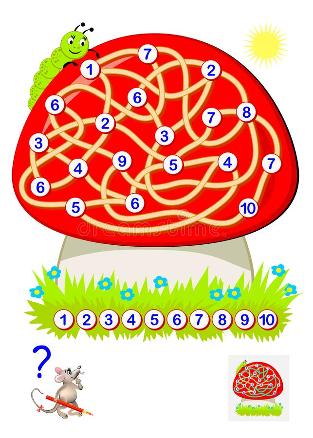 Logic puzzle game for young children with labyrinth. Draw a path to connect numbers from 1 to 10. Developing skills for counting. Vector cartoon image. Scale to stock illustration