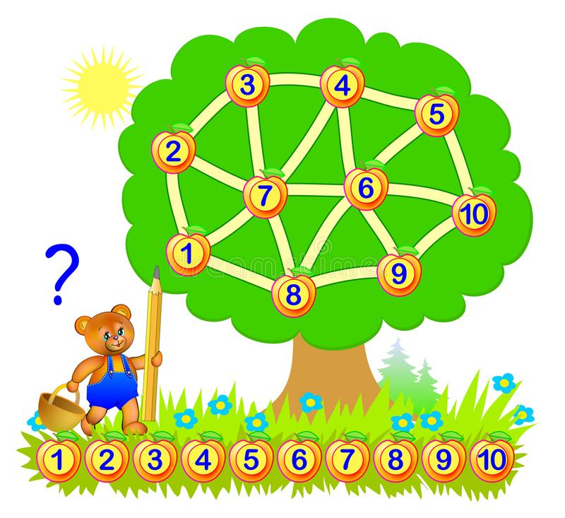 Logic puzzle game for young children with labyrinth. Draw a path to connect numbers from 1 to 10. Developing skills for counting. Vector cartoon image. Scale to vector illustration