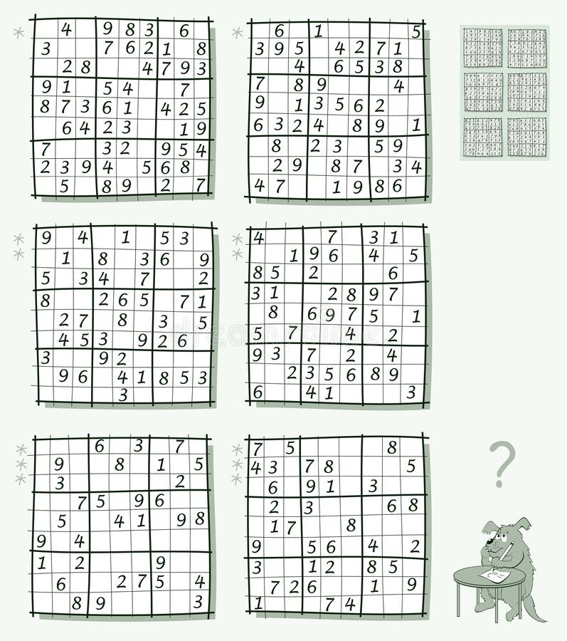 Logic Sudoku game. Set of different level puzzles. Worksheet for children and adults. Vector image. Vector cartoon image. Scale to any size without loss of royalty free illustration