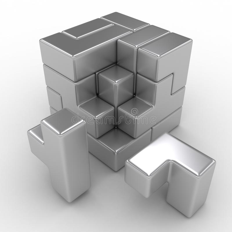 Logical cube puzzle royalty free illustration