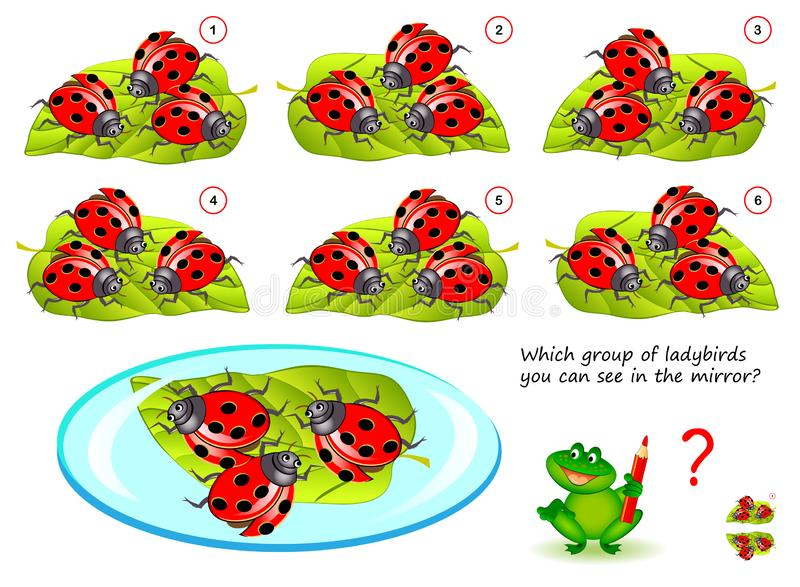 Logical puzzle game for children and adults. Which group of ladybirds you can see in the mirror?. Printable page for kids brain teaser book. Developing spatial vector illustration