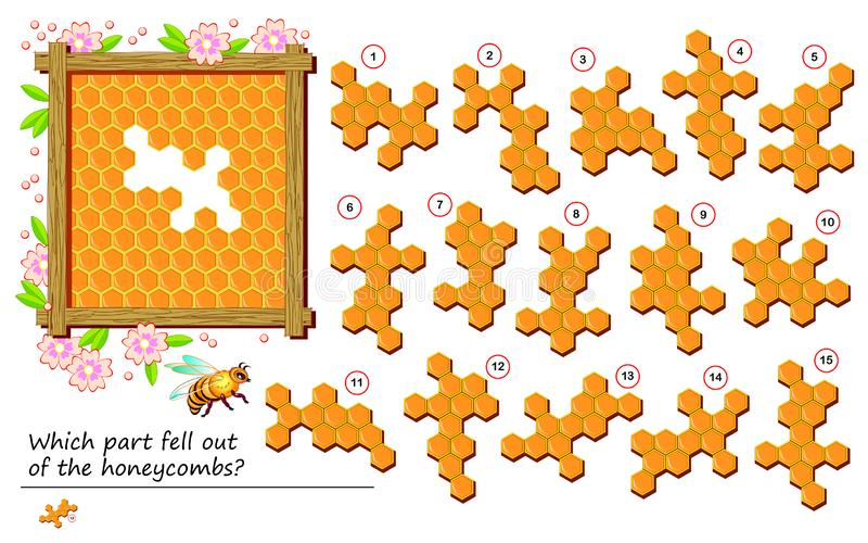 Logical puzzle game for Children i dorosłe Która część wypadła z plastrów? Drukowalna strona dla dzieci - książki dla nauczycieli ilustracji