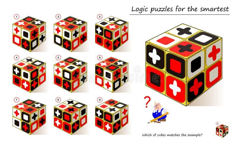 Logical puzzle game for Children i dorosłe Który z modułów pasuje do przykładu? Drukowalna strona dla dzieci - książki dla nauczy ilustracja wektor