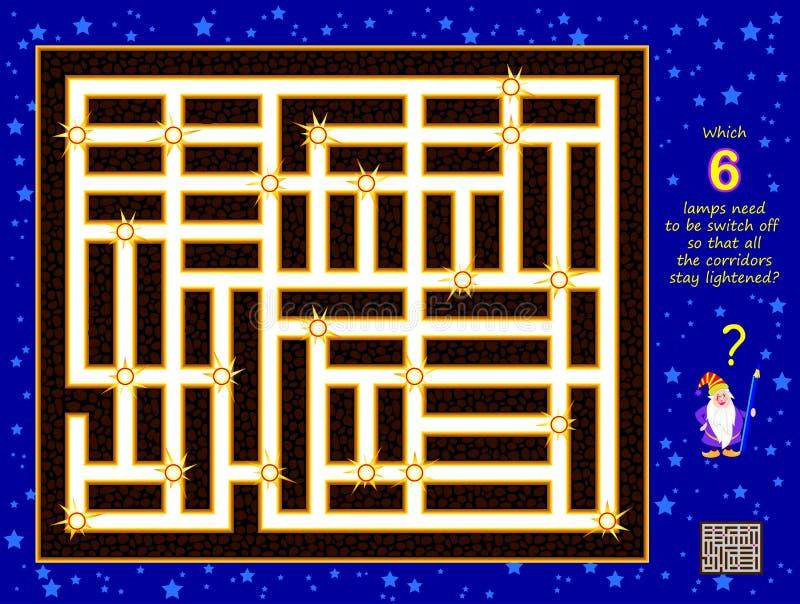 Logical puzzle game for Children (Logiczna gra puzzlowa dla dzieci) Które 6 lamp musi być wyłączonych, aby wszystkie korytarze by royalty ilustracja