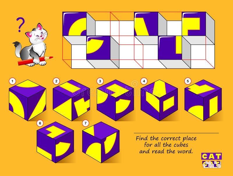 Logical puzzle game for Children (Logiczna gra puzzlowa dla dzieci) Znajdź właściwe miejsce dla wszystkich sześcianów i przeczyta royalty ilustracja