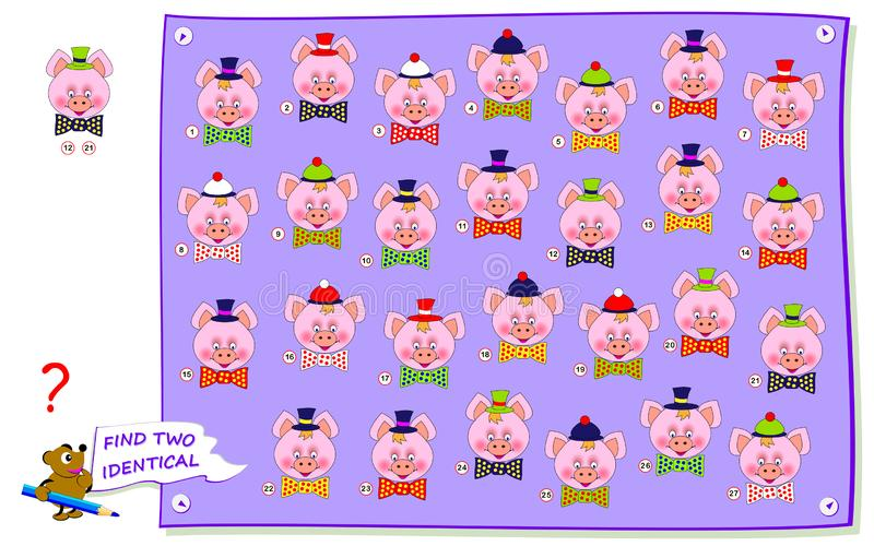 Logical puzzle game for kids and adults. Find two identical pig heads. Printable page for baby brainteaser book. Logical puzzle game for kids and adults. Find royalty free illustration