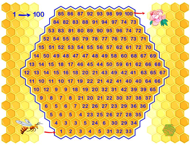 Logical puzzle game with labyrinth for children and adults. Find way from number 1 till 100. Printable worksheet for kids brain teaser book. Developing royalty free illustration