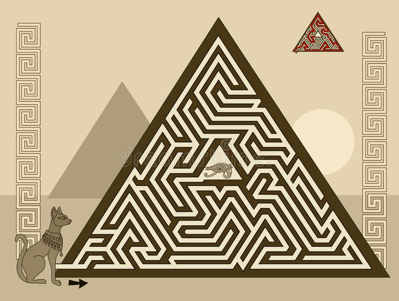 Logical puzzle game with labyrinth for children and adults. Find the way in pyramid to ancient Egyptian treasure. Printable worksheet for kids brain teaser stock illustration